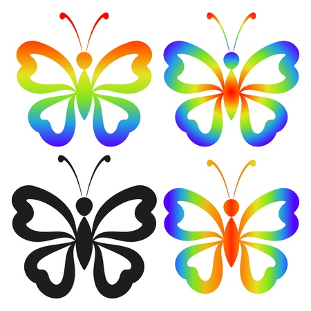 Set abstract butterflies, coloured and black contour silhouettes on white background  Vector Vector