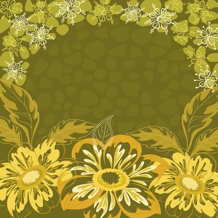 Floral background, dahlia flowers, leaves and contours on green  Vector