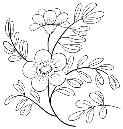 Abstract symbolical flower, monochrome contours, isolated