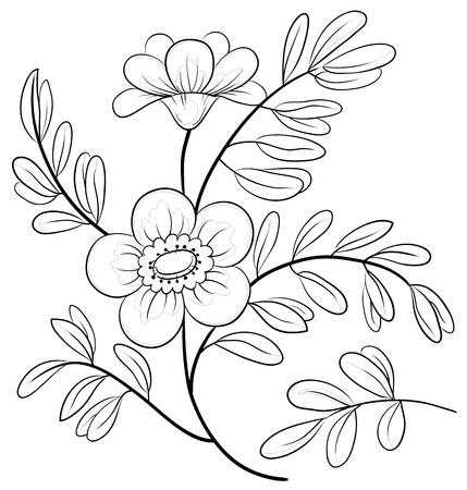 outline drawing: Estratto fiore simbolico, contorni in bianco e nero, isolato Vettoriali