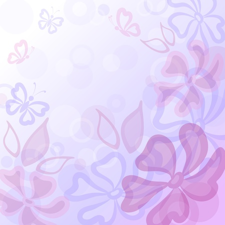 Abstract blue and pink background  flowers, butterflies and leaves  Vector Vector