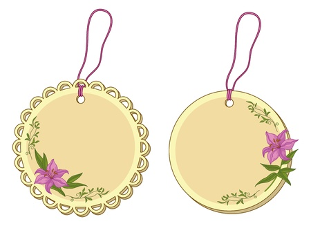 Yellow and beige round labels tags with lily flowers  Vector Vector