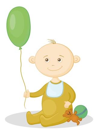 Child with a toys  balloon, teddy bear and a ball  Vector Vector