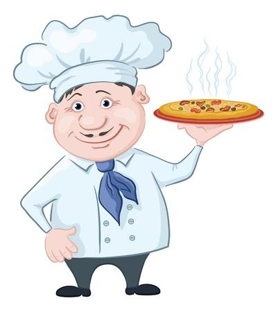 chef caricatura: Cartoon cocinero - chef tiene una deliciosa pizza caliente, aislado en fondo blanco Vector