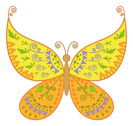Symbolical colorful butterfly with an abstract floral pattern   Vector