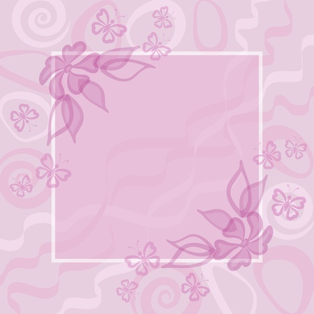 Abstract white and pink floral background  frame, flowers and butterflies contours  Vector