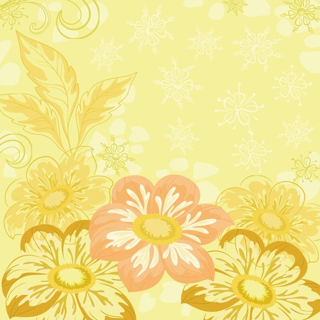 background yellow: Yellow holiday background with flowers and leaves dahlia   Illustration