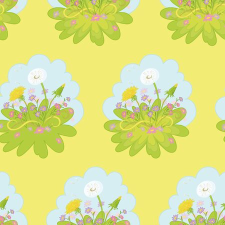 Seamless background  dandelions flowers, green grass and blue sky on yellow Vector