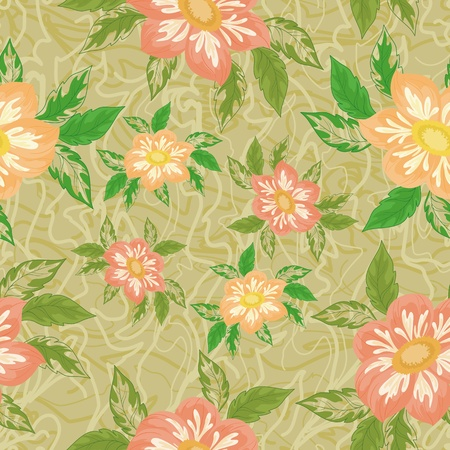Seamless background with flowers and leaves dahlia  Vector