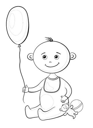 Child with a toys  balloon, teddy bear and a ball Stock Vector - 13045268
