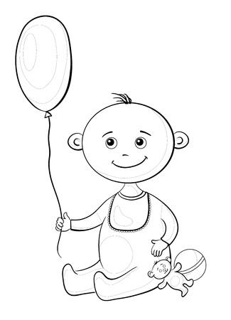 Child with a toys  balloon, teddy bear and a ball Vector