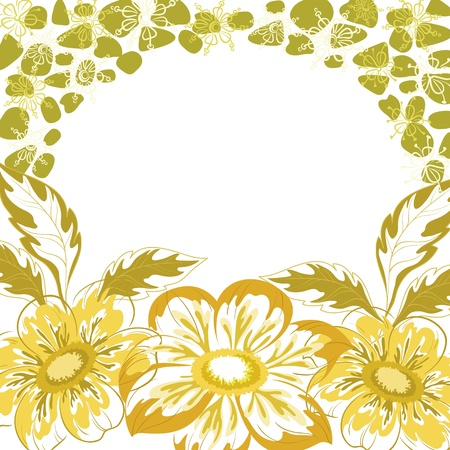 georgina: Floral background, dahlia yellow and green flowers and leaves on white