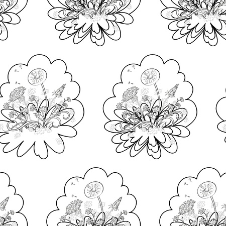 Seamless floral background  dandelions flowers, black contours on white Stock Vector - 13105341