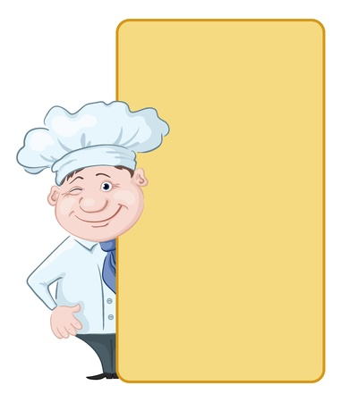 commercial kitchen: Cartoon cook - chef winking looks out poster, free for your text  Vector