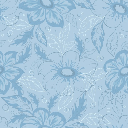 georgina: Seamless background with outline flowers and leaves dahlia   Illustration