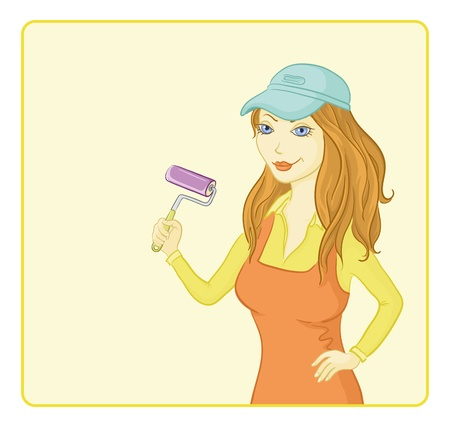 painter and decorator: Working painter girl in a cap with a paint roller on the background of the poster for your text