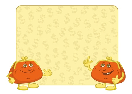 Smiling purses shows the thumb up against the background of the poster with dollars  Vector