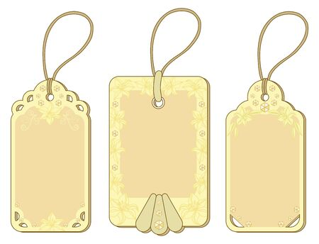 Set yellow and beige labels tags with floral pattern and ropes Stock Vector - 13203522