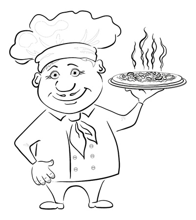 Cartoon cook - chef holds a delicious hot pizza, black contour on white background