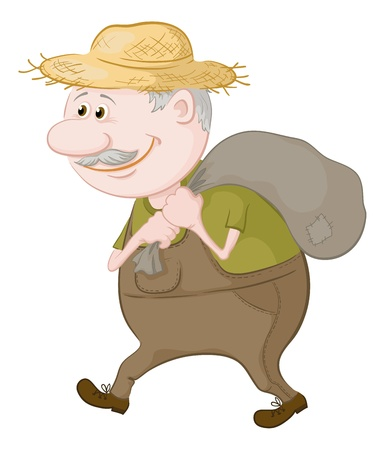 Old man in a straw hat carries a canvas bag  Vector illustration
