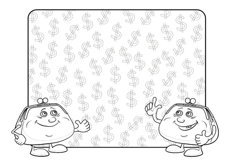 Smiling purses shows the thumb up against the background of the poster with dollars, contour  Vector Stock Vector - 13306466