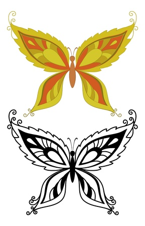 Butterflies with abstract floral pattern  red - orange and black outlines on white background  Vector Vector