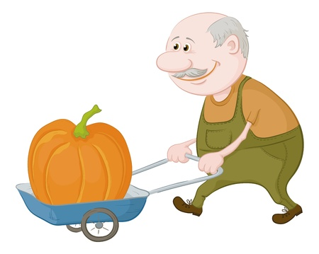 Old men gardener driven truck with pumpkin Stock Vector - 13330764