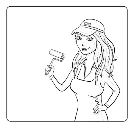 painter decorator: Working painter girl in a cap with a paint roller on the background of the poster for your text,  Illustration
