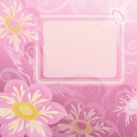 Pink background with white frame and flowers dahlia  Vector Stock Vector - 13403077