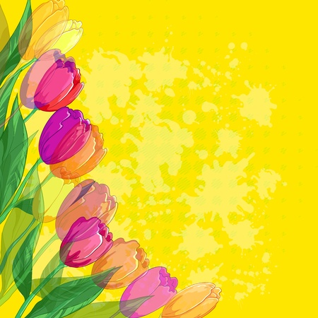 Tulips flowers and leafs on abstract yellow background Vector