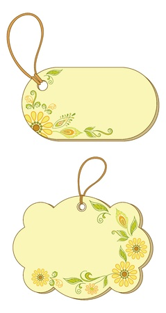 Yellow labels tags, oval and cloud, with floral pattern and ropes Stock Vector - 13599756