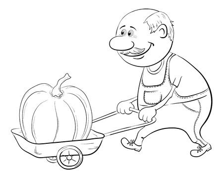 Old men gardener driven truck with pumpkin, black contour on white background illustration Stock Vector - 13599764