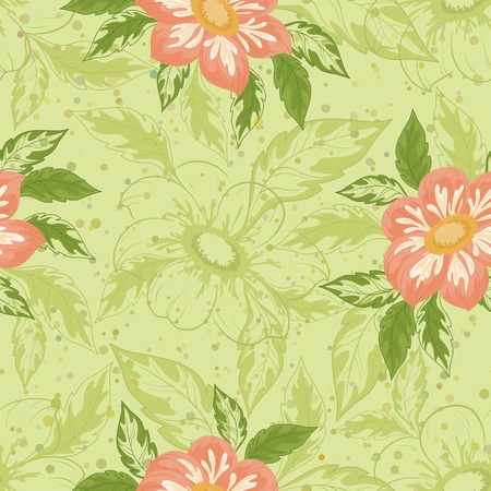 Seamless background with flowers and leaves dahlia illustration Vector
