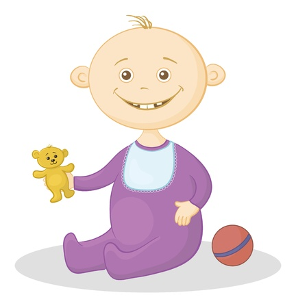 Baby with a toys  teddy bear and a ball illustration Vector