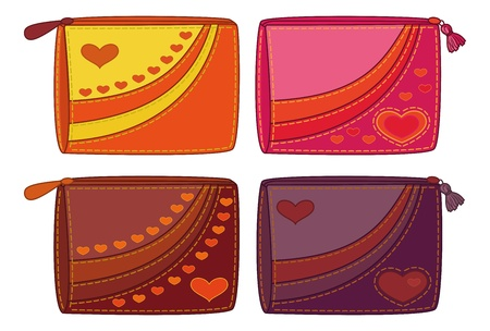 Set purses for money with valentine hearts illustration Vector