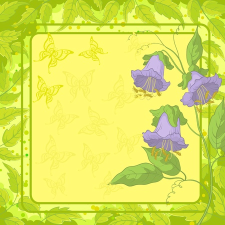 Kobe flowers on yellow background with frame, butterfly and green leaves illustration Vector