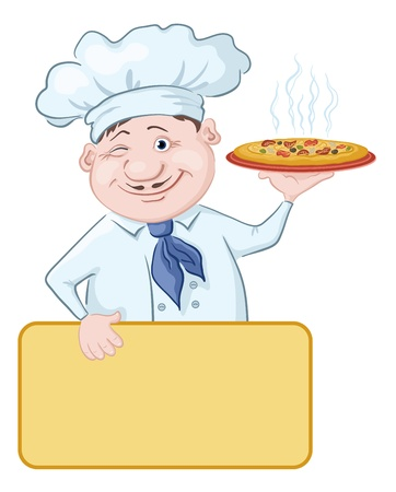 Cartoon cook - chef with delicious hot pizza and poster, free for your text illustration Stock Vector - 13599760
