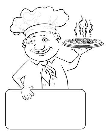 commercial kitchen: Cartoon cook - chef with delicious hot pizza and poster, free for your text, black contour on white background illustration Illustration