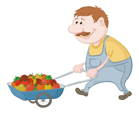 driven: Men gardener driven truck with fresh tomatoes and peppers  Vector illustration