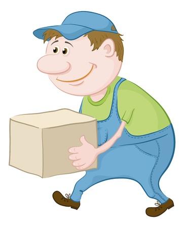 Men porter in working uniform carries a box