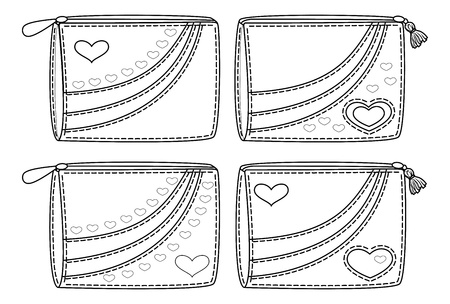 black and white sewing: Set purses for money with valentine hearts, black contour on white background
