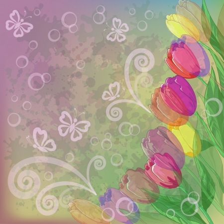 Tulips flowers and leafs on abstract background with butterflies and blots contains transparencies Vector