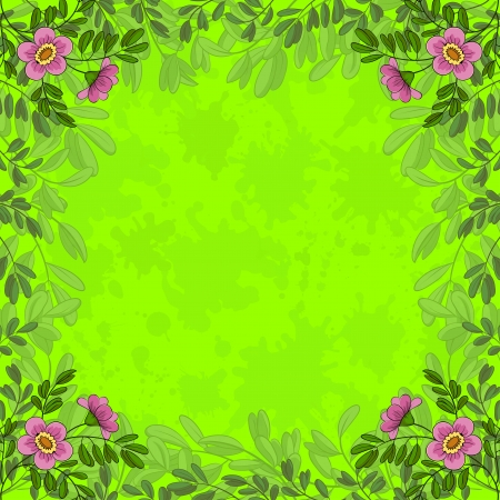 Summer flowers and lives on green background with blots  Vector eps10, contains transparencies Vector