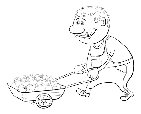 porter: Men gardener driven truck with fresh tomatoes and peppers, black contour on white background  Vector illustration Illustration