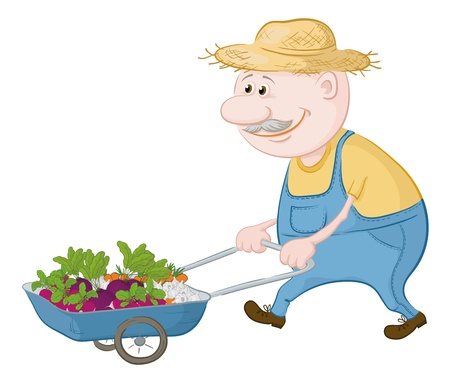 peasant: Men gardener driven truck with fresh vegetables  Vector illustration