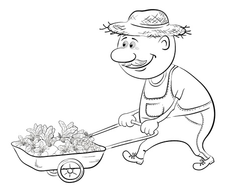 black and white farm: Men gardener driven truck with fresh vegetables, black contour on white background  Illustration