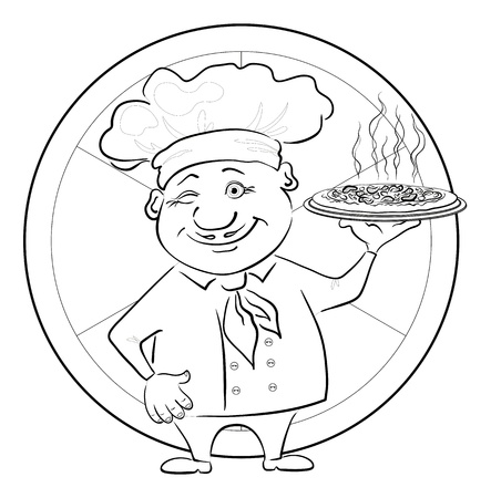 Cartoon cook - chef with delicious hot pizza on a circular background, black contour on white background illustration Illustration