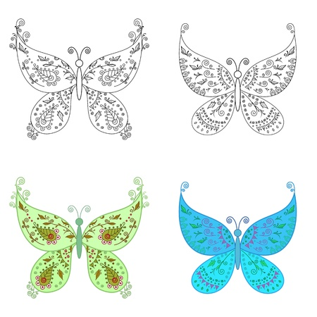 Set abstract butterflies  coloured with an abstract floral pattern and black contour on white background Stock Vector - 13837164