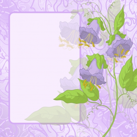 kobe: Kobe flowers and green leaves on lilac background with frame and curves Illustration