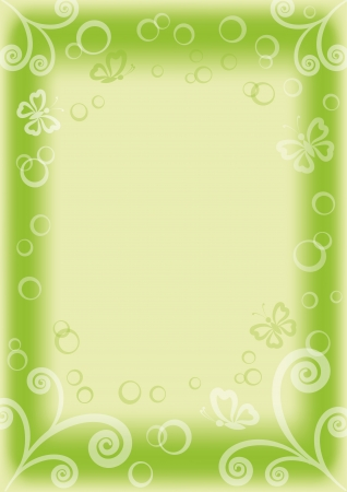 green and white background with butterflies, circles and figures, contains transparencies Vector